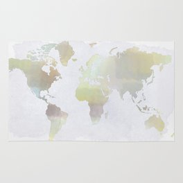 Watercolored World Map Rug