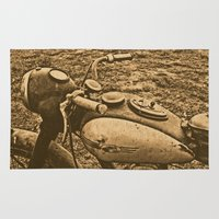 motorcycle Area & Throw Rugs featuring Jawa motorcycle by AhaC
