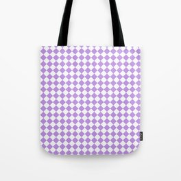 Small Diamonds - White and Light Violet Tote Bag