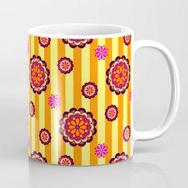 Colorful Retro Mod Flowers on Stripes Coffee Mug