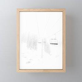 Ski Lift  // Black and White Snowy Climb Whiteout Foggy Minimal Epic Indie Alpine Photograph Framed Mini Art Print