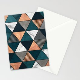 Copper, Marble and Concrete Triangles 2 with Blue Stationery Cards