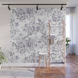 FLORAL VINTAGE ROSES MAUVE WHITE Wall Mural