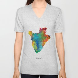 Burundi Watercolor Map Unisex V-Neck