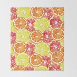 Grapefruit Lemon Orange Pattern Throw Blanket