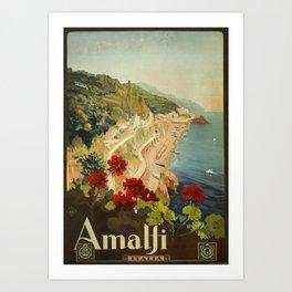 Vintage Travel Ad Amalfi Italy Art Print