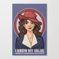 hallion Canvas Prints featuring I Know My Value by Karen Hallion Illustrations