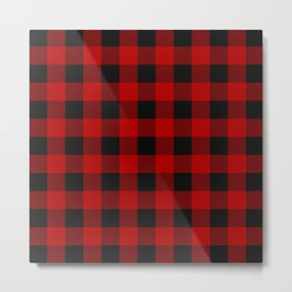 Red and black squares plaid print Metal Print