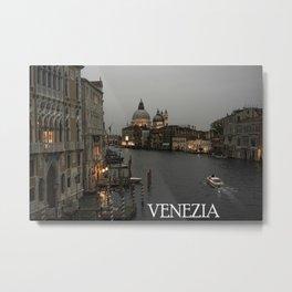 Canal grande night fall Venice Metal Print