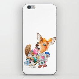 A child deer and squirrel at the summer festival iPhone Skin