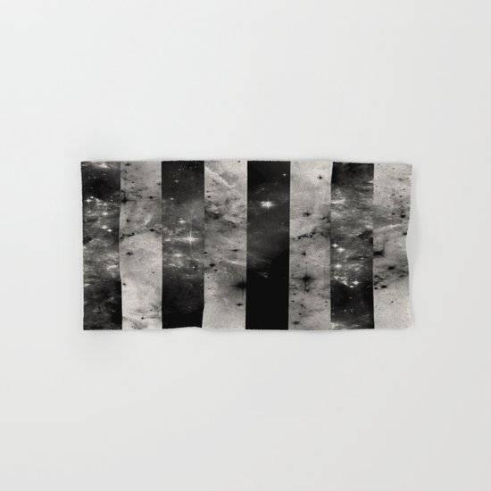 Stripes In Space - Black and white panel effect space scene Hand & Bath Towel