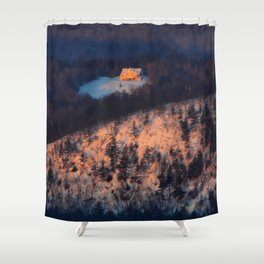 Morning Sun on the Yellow House on the Mountain Shower Curtain