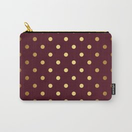 Maroon Gold Polka Dots Carry-All Pouch
