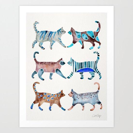 Cat Collection – Blue & Brown Palette Art Print