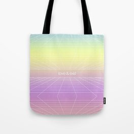 Love & Exist - 3D Dimensional Wireframe Plane of Existence Pastel Surreal Design Tote Bag