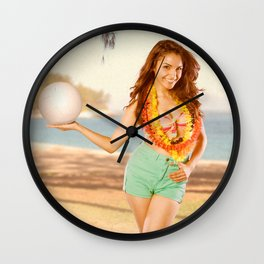 """Serves Up"" - The Playful Pinup - Volleyball Beach Pinup Girl by Maxwell H. Johnson Wall Clock"