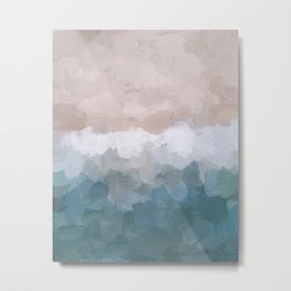 Turquoise Aqua Blue White Dusty Rose Pink Abstract Painting, Modern Wall Art Print, Ocean Sunset Sand Beach Aerial View Metal Print