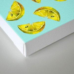 Lemon Slices Pattern Turquoise Canvas Print