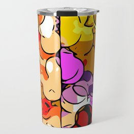 psychedelic geometric graffiti drawing and painting in orange pink red yellow blue brown purple and Travel Mug