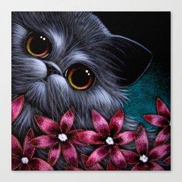 SMOKEY PERSIAN CAT & PINK FLOWERS Canvas Print