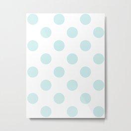 Large Polka Dots - Light Cyan on White Metal Print