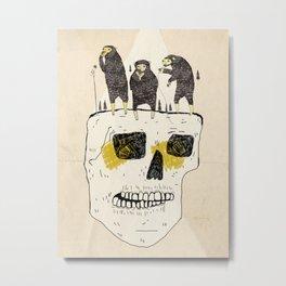 Bears On a Skull Metal Print