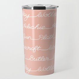 Feminist Book Author Surname Hand Written Calligraphy Lettering Pattern - Pink Travel Mug