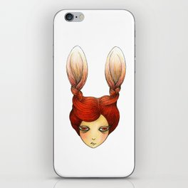 the girl with rabbit hair iPhone Skin