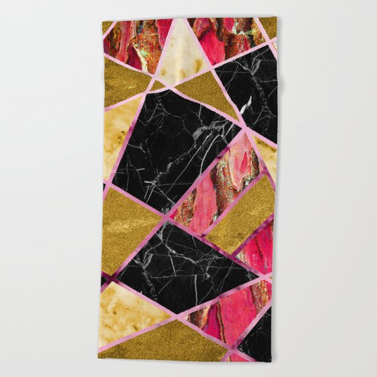 Abstract #456 Marble & Gold Beach Towel