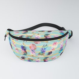 watercolor and nebula pineapples stripes design Fanny Pack