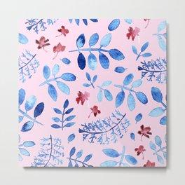 Hand painted modern navy blue pink watercolor floral leaves Metal Print
