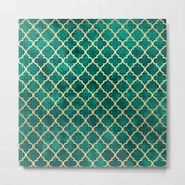 Moroccan Teal Green Gold Quatrefoil Art Deco Pattern Metal Print