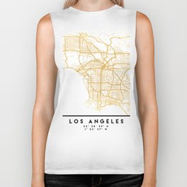LOS ANGELES CALIFORNIA CITY STREET MAP ART Biker Tank