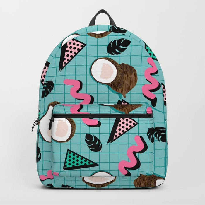 More Coconuts tropical summer vibes memphis abstract pattern print design by wacka Backpack