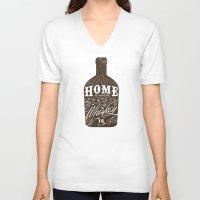 whiskey V-neck T-shirts featuring Whiskey by irosebot