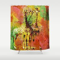 giraffe Shower Curtains featuring Giraffe  by Saundra Myles
