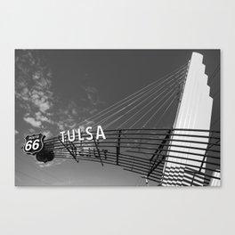 Tulsa Oklahoma Route 66 Neon Googie Style Street Art Sign - Black and White Canvas Print