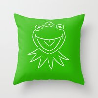 kermit Throw Pillows featuring Monsanto Kermit says... by Mutant Colony