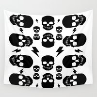 skulls Wall Tapestries featuring skullS by HEADBANGPARTY