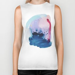 PYT: a minimal abstract mixed media piece on canvas in blues, pink, purple, and white Biker Tank