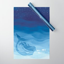Mermaid, watercolor, blue, fish Wrapping Paper