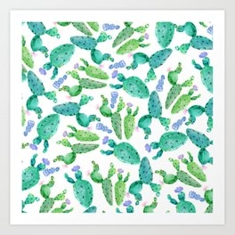 Watercolor hand painted violet green cactus floral Art Print