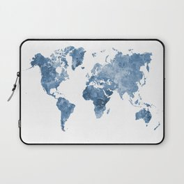 World map in watercolor blue Laptop Sleeve