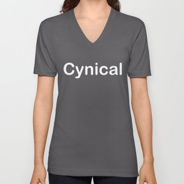 Cynical T Shirt and Sticker Word Art Font in White Unisex V-Neck