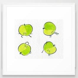Apples doing yoga Framed Art Print