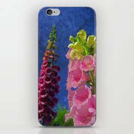 Two Foxglove flowers with textured background iPhone Skin