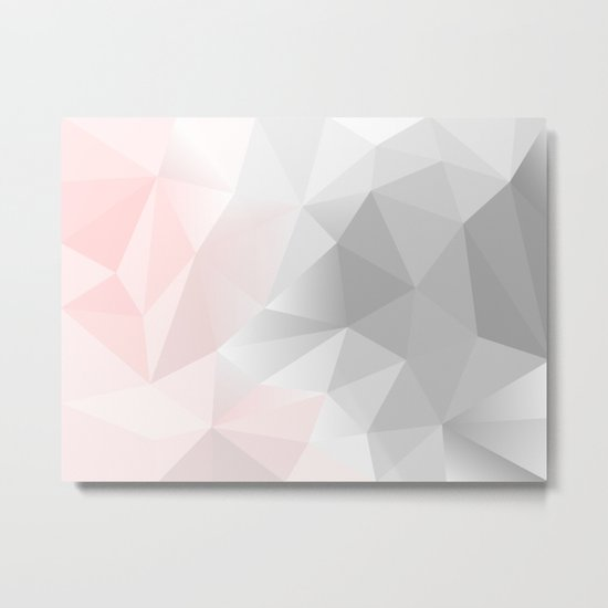 pink and gray geometric low poly background Metal Print