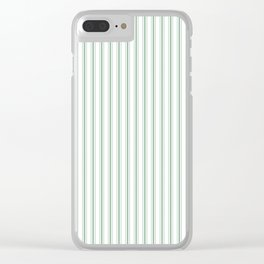 Mattress Ticking Narrow Striped Pattern in Moss Green and White Clear iPhone Case