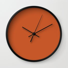 Colors of Autumn Maple Leaf Dark Orange Solid Color Wall Clock