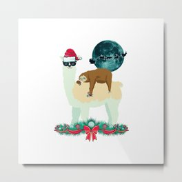Llama Sloth Christmas Santa's Sleigh Silhouette In Front Of The Moon Metal Print